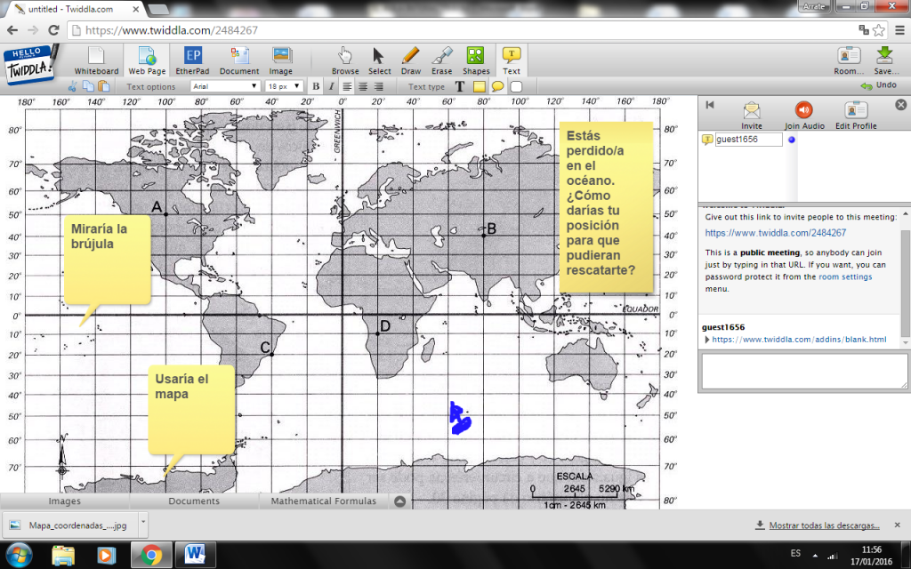 Captura mostrando el uso de Twiddla