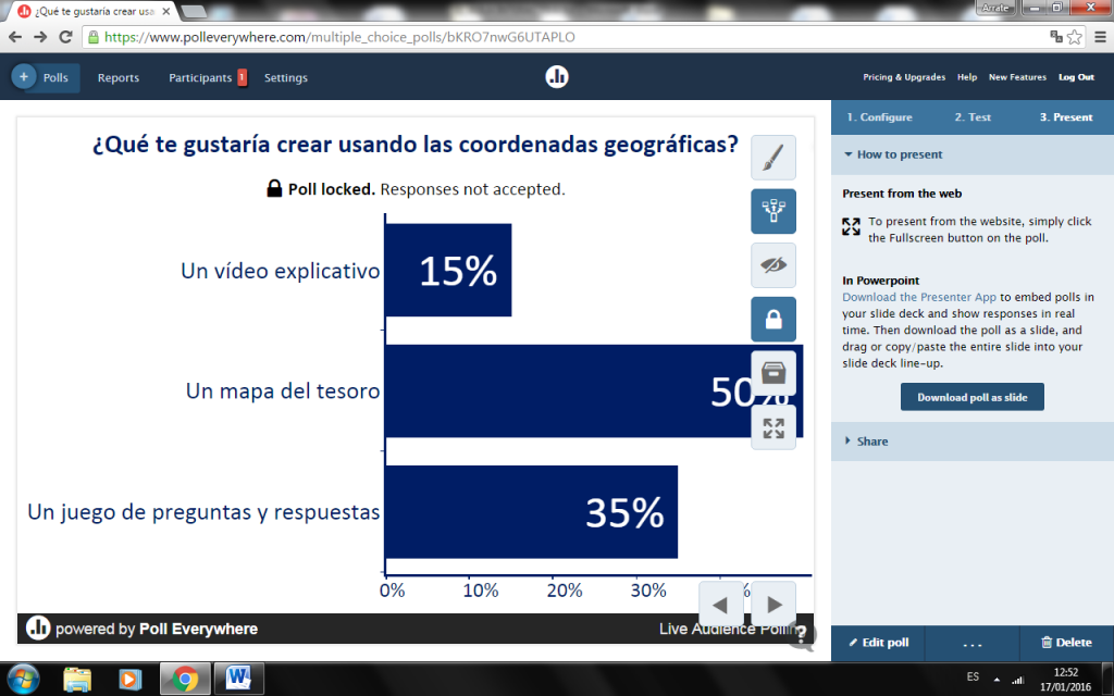 Captura mostrando el uso de Poll Everywhere