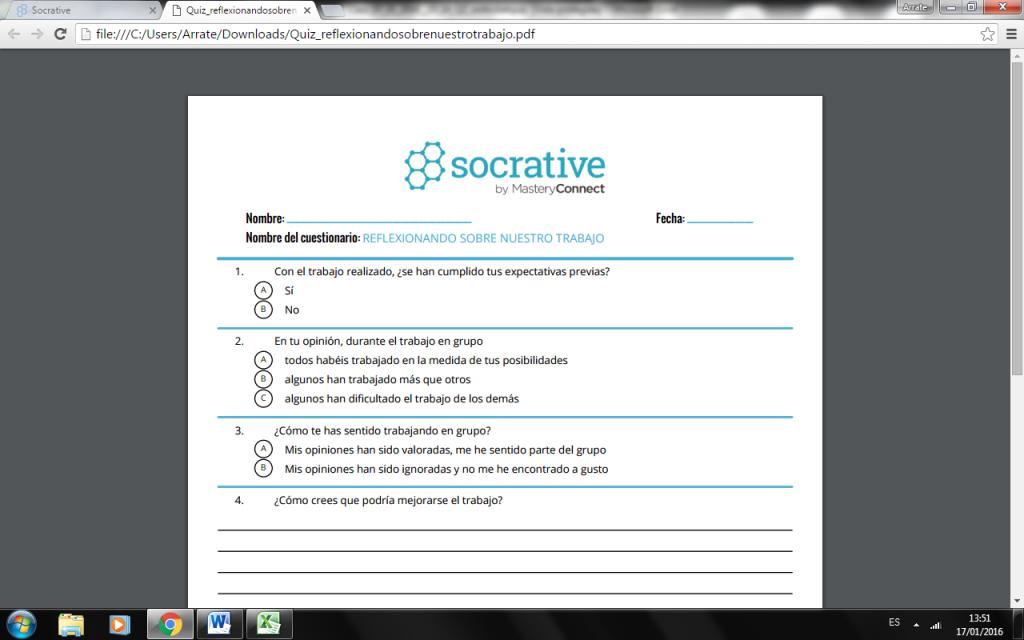 Captura mostrando el uso de Socrative