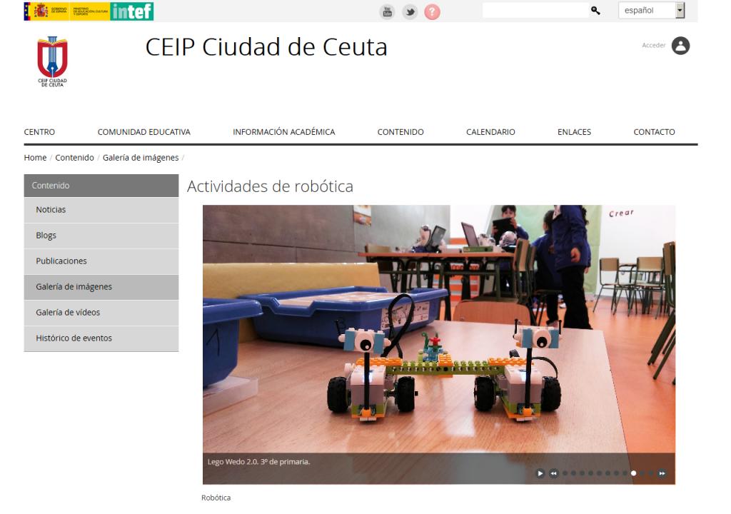 Galerías de imágenes en el sitio web del CEIP Ciudad de Ceuta