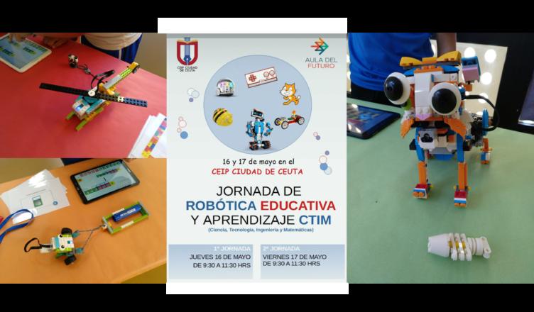 El cartel de las Jornadas con varias de las creaciones del alumnado