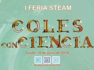 Cartel anunciando la I Feria STEAM en Ceuta